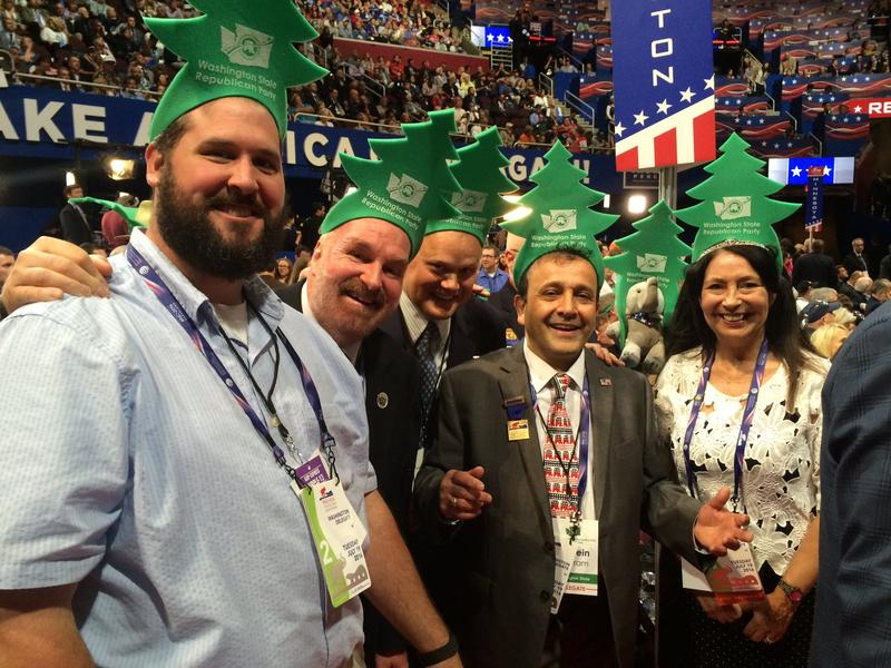 Washington state Republican delegates get ready to cast their vote for the nomination.