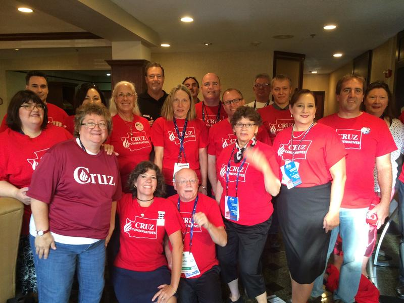 Washington state delegates who supported Ted Cruz pose in Cleveland during the Republican National Convention.