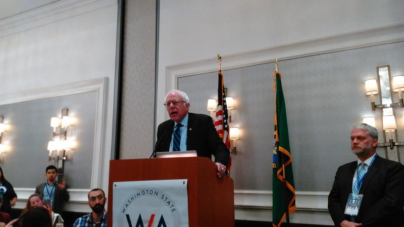 Bernie Sanders addresses the Washington state delegates at breakfast Wednesday morning.