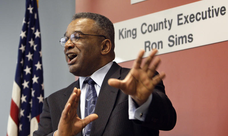 Former King County Executive Ron Sims speaks at a news conference where he announced that President Barack Obama would nominate him to be deputy secretary of the U.S. Department of Housing and Urban Development, Monday, Feb. 2, 2009, in Seattle.