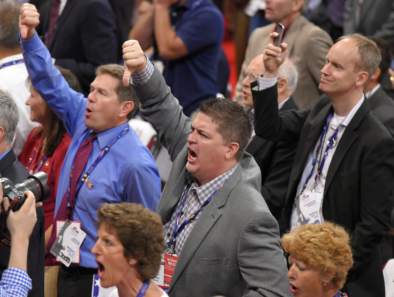 Delegates react as some delegates call for a roll call vote on the adoption of the rules during the opening day of the Republican National Convention in Cleveland, Monday, July 18, 2016.