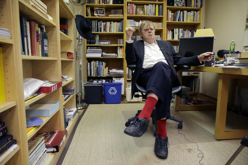 Garrison Keillor in his office in St. Paul, Minnesota. Keillor, 72, is retiring from his show, A Prairie Home Companion, this Saturday.