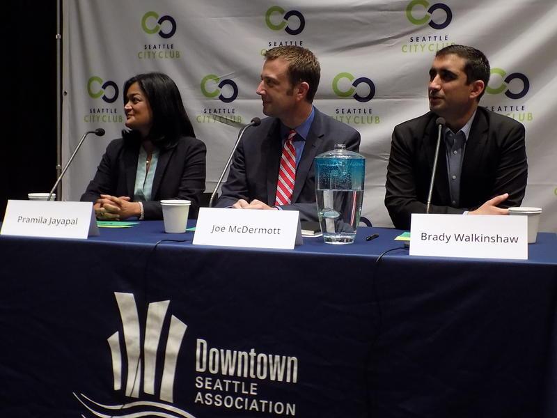 Left to right: Pramila Jayapal, Joe McDermott and Brady Walkinshaw at SPL.