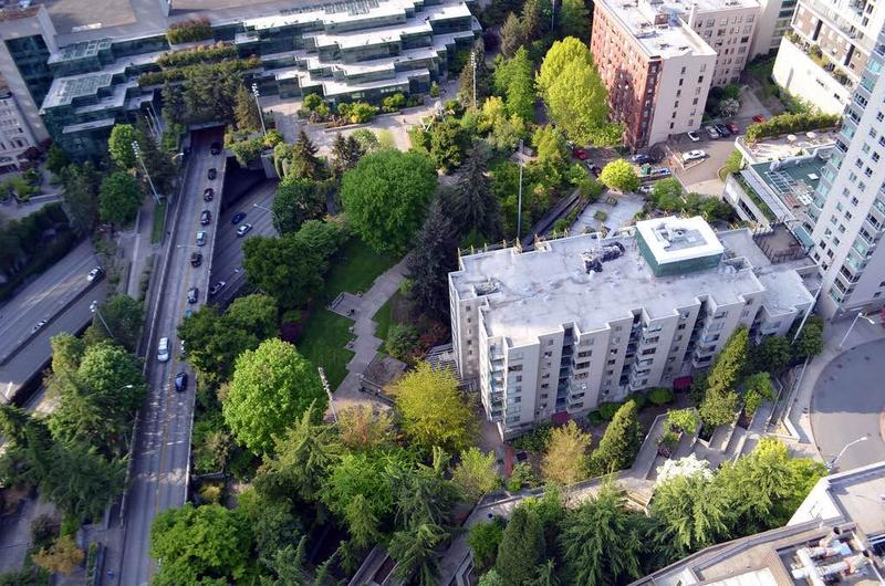 Downtown Seattle's Freeway Park over Interstate 5 is seen from above.