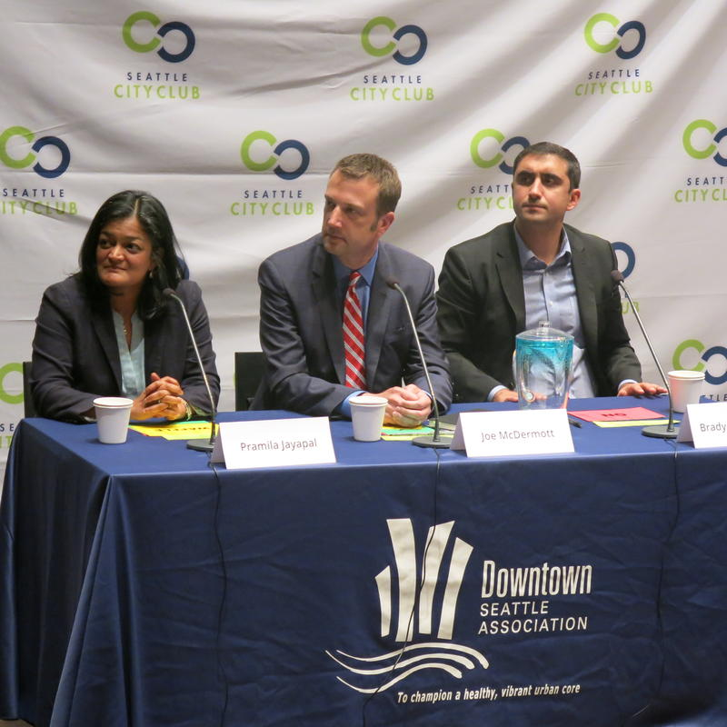 From left to right, Pramila Jayapal, Joe McDermott and Brady Walkinshaw at 7th Congression District debate in July.