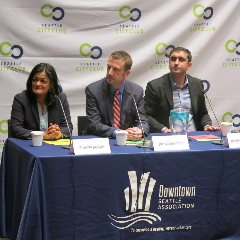 From left to right, Pramila Jayapal, Joe McDermott and Brady Walkinshaw at 7th Congression District debate in July.