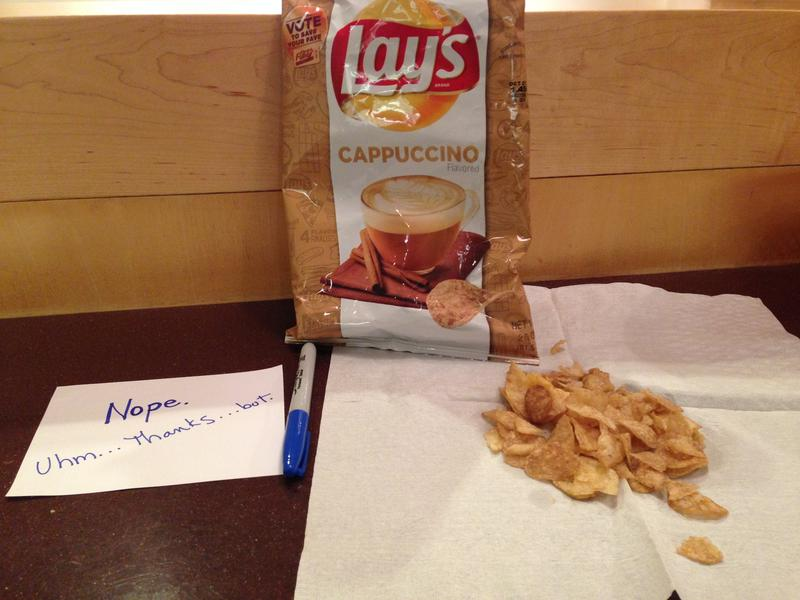 One person's 'no thanks' is another's 'yes, please!' Oh yes, we ate these Cappuccino-flavored Lays chips.