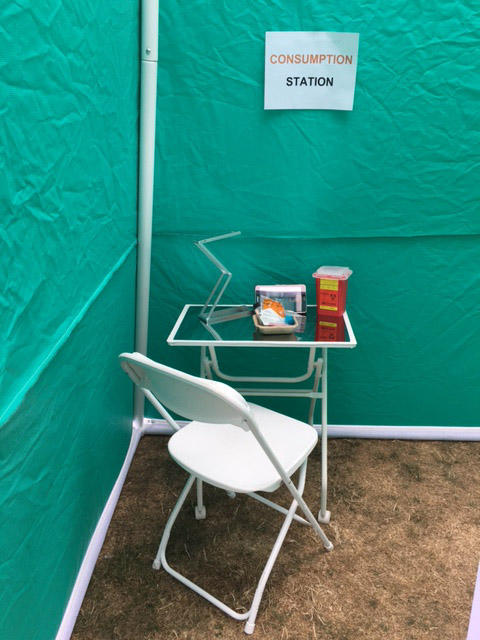 A safe consumption station at the site.
