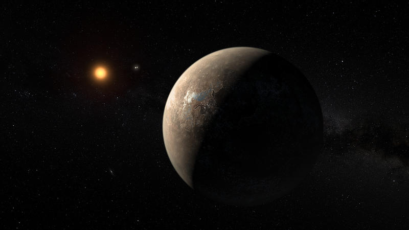 An artist's rendering shows what Proxima b and its star, Proxima Centauri, might look like.
