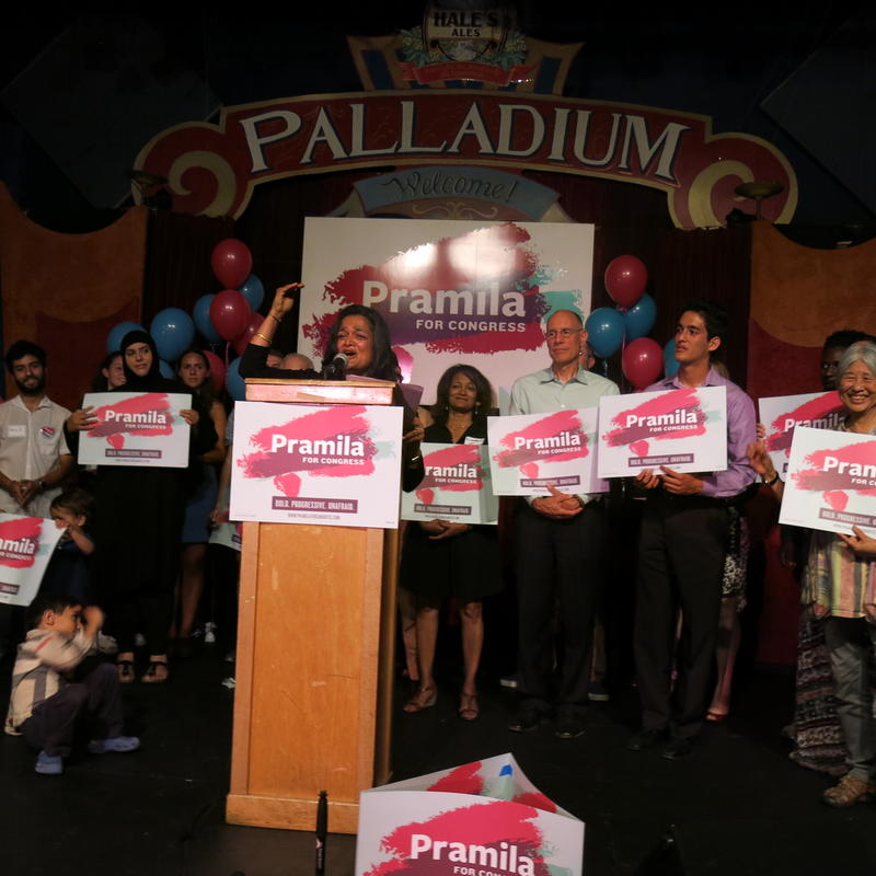 Jayapal thanks supporters at Hale's brewery in Ballard on primary night.