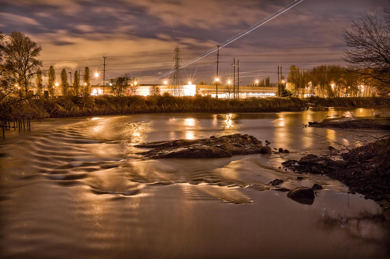North Wind's Weir at night on the Duwamish river