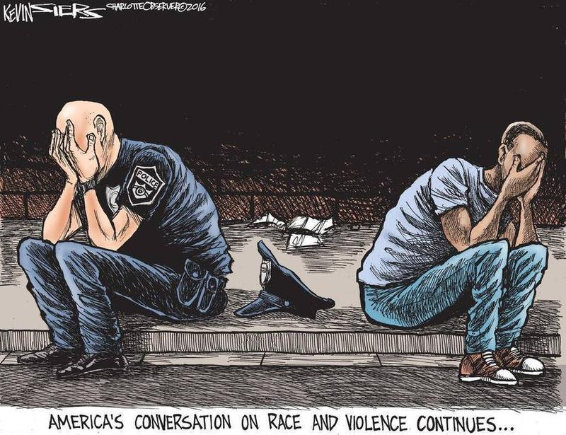This cartoon by Kevin Siers of The Charlotte Observer, following the police shootings in Dallas, Texas, is part of Suzzallo Library's Editorial Cartoons exhibit.