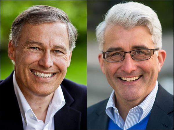 Gov. Jay Inslee, left, a Democrat, and Bill Bryant, his Republican opponent.