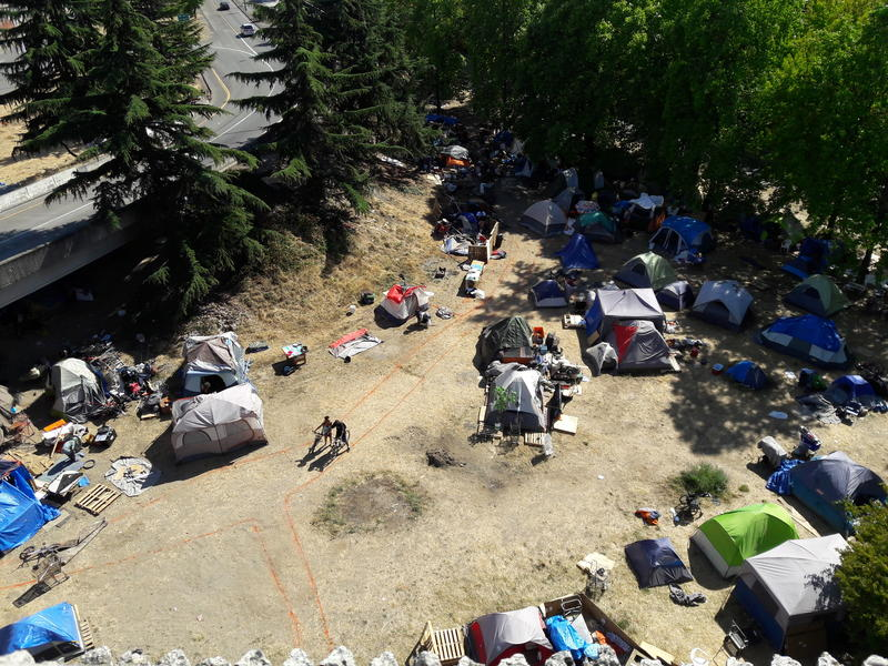 The tent city where Jungle residents are being encouraged to move.