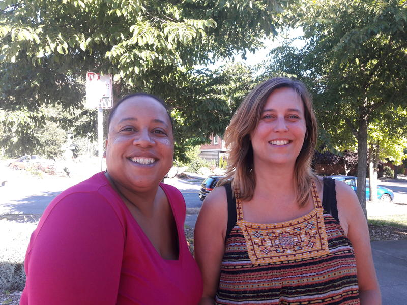 Delridge residents Andrea Wilmot, left, and Ranette Iding are trying to start a grocery co-op in the neighborhood. The community has been struggling to make fresh produce more accessible.
