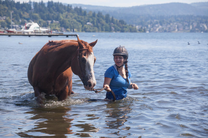 Riley Neiders and her horse Homer in Lake Washington.