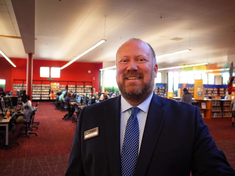 Gary Wasdin, director of the King County Library System, at the Kent Library.