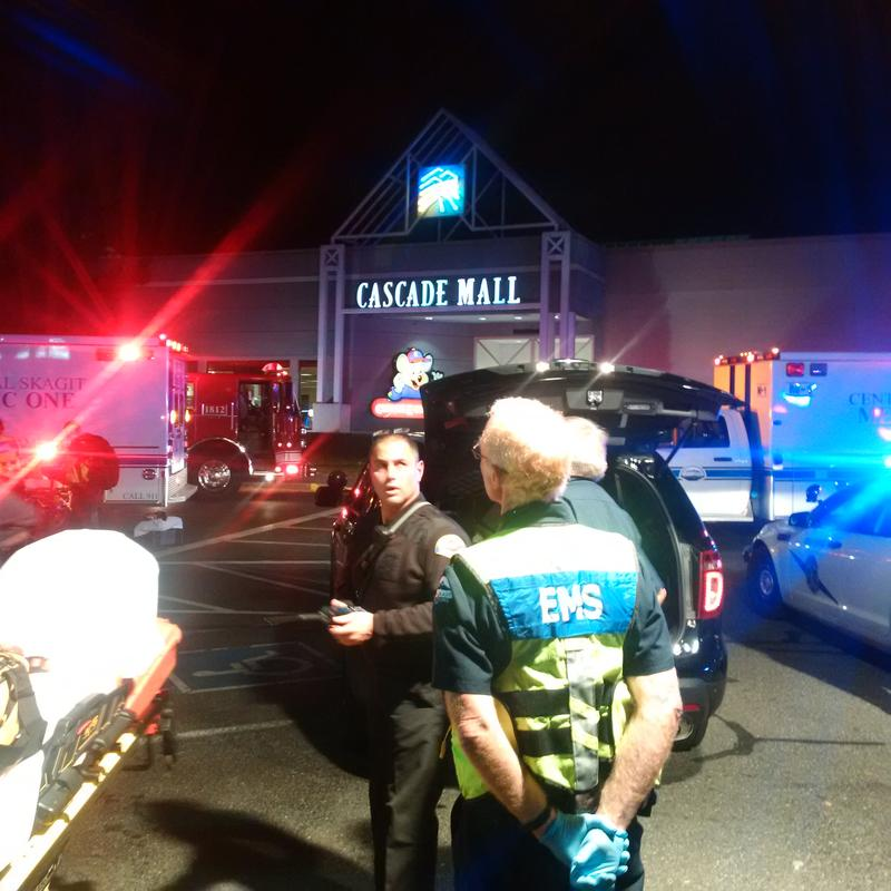 Emergency responders enter Cascade Mall in Skagit County after a shooting late Friday left four dead, according to Washington State Patrol.