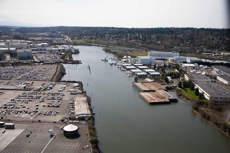 The Duwamish River isn't naturally straight - we did that while building the city of Seattle.