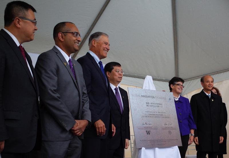 Celebrating the GIX groundbreaking: Tsinghua University VP Yang Bin, UW VP of Innovation Strategy Vikram Jandhyala, Governor Jay Inslee, Tsinghua President Qiu Yong, UW President Ana Mari Cauce and Consul General Luo Linquan