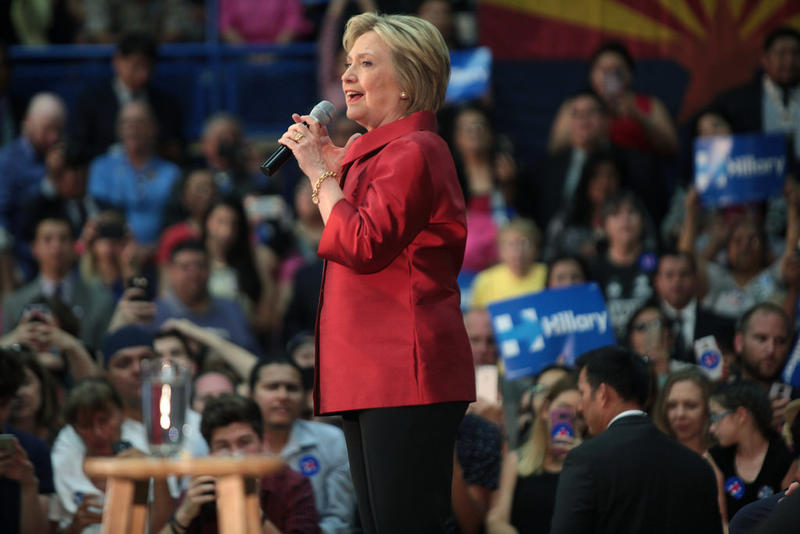 Hillary Clinton speaking with supporters at a campaign rally at Carl Hayden High School in Phoenix, Arizona in March 2016.