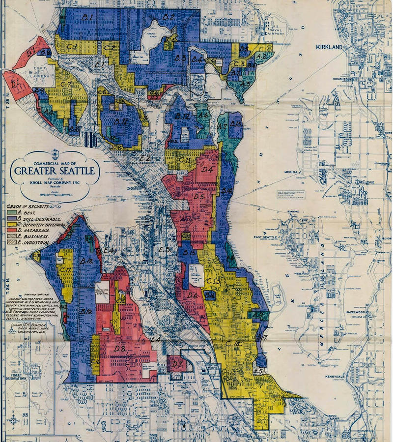 A 1936 map that shows how banks prevented residents in the Central District from accessing loans to buy homes.
