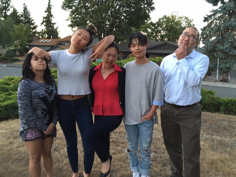 April Reyes (far left) with the family who took her in. From left to right: Mariya Manuel, Tanya Kim, Tamar Manuel and Alan Lee