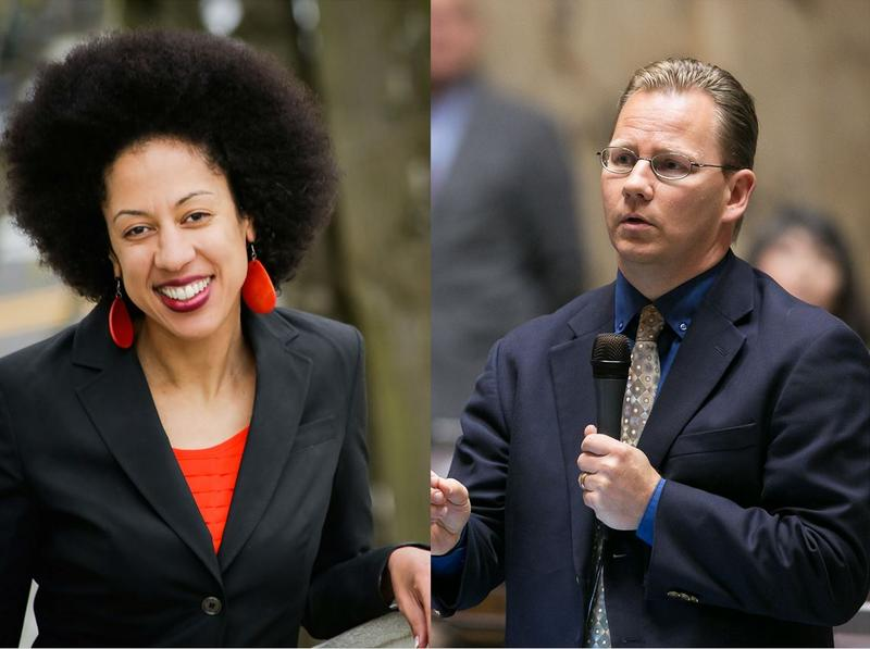 Erin Jones, left, and Chris Reykdal are running for state schools chief in Washington state. Jones has been under fire for her comments on gender curriculum.