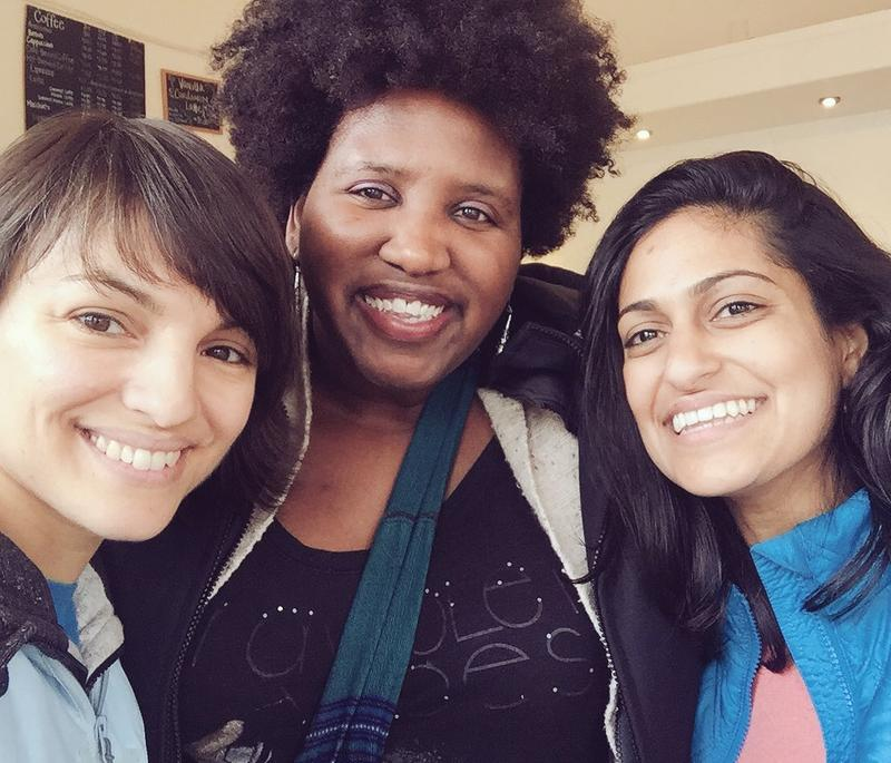 Monica Guzman (left), co-founder of Seattle newsletter The Evergrey, and Reagan Jackson (center) writer at The Seattle Globalist and South Seattle Emerald. Pictured with Anika Anand, Guzman's co-founder at The Evergrey. (via Twitter)