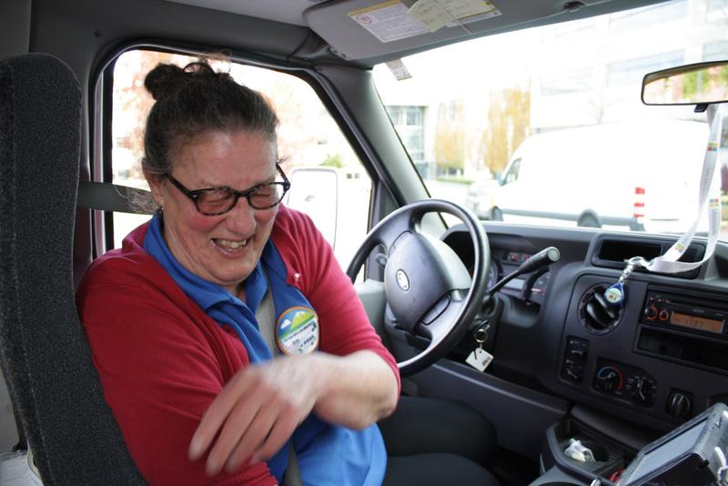 Detta Hayes, 9 year driver for Microsoft's connector bus and vanpool service. Hayes is prone to frequent bursts of laughter, such as when I asked her if her bus ever gets stuck in traffic.