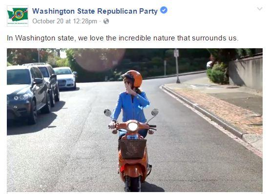 Screenshot from the Washington State Republican Party's ad features chairman Susan Hutchison running errands on a scooter.