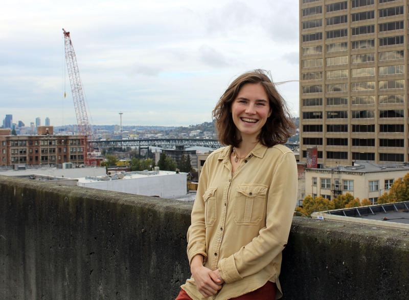 Seattle resident Amanda Knox on the roof of the KUOW parking garage in Seattle's University District.