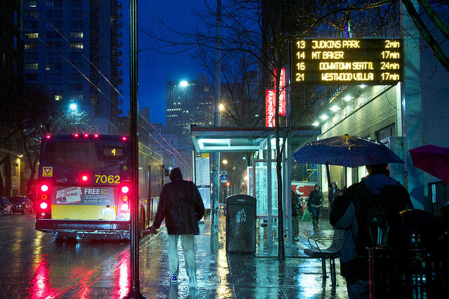 Downtown Seattle on a stormy night.