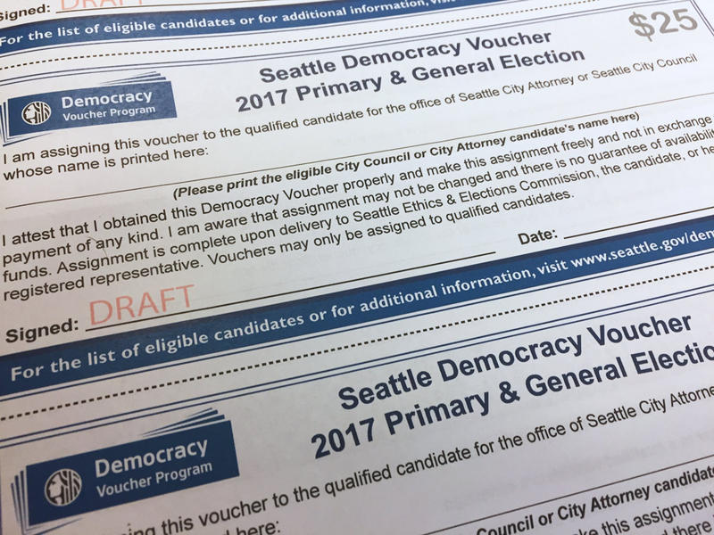 An early draft of the democracy vouchers Seattle Elections will send to residents in January 2017.