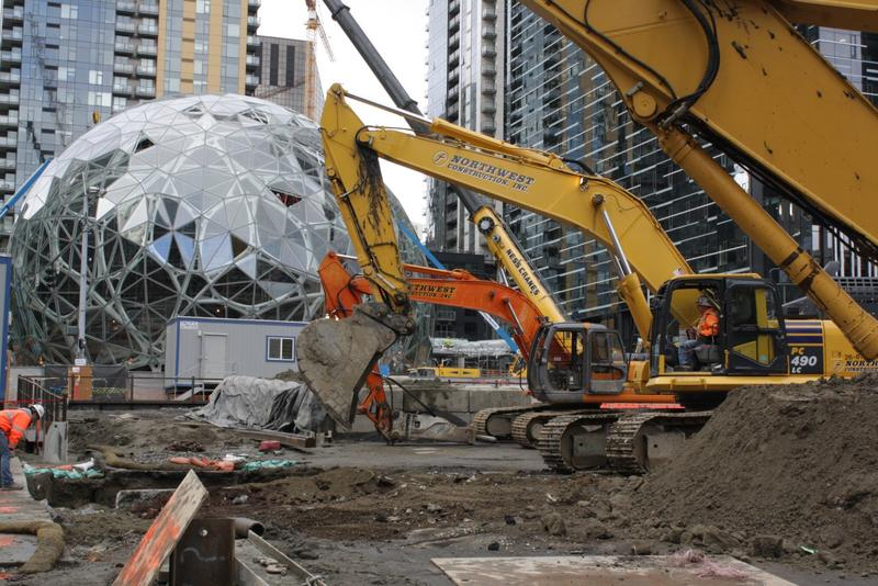Excavation equipment has just begun digging for the next phase of Amazon's headquarters.