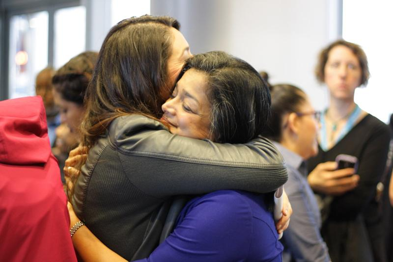 Newly elected U.S. Representative Pramila Jayapal and Seattle City Councilmember Lorena Gonzalez share a hug on the day after Trump was elected U.S. President.