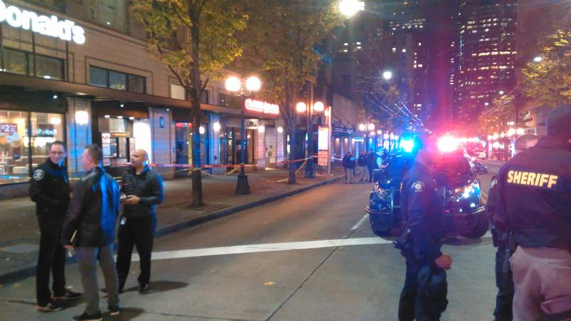 Seattle police on scene after five people were shot downtown.