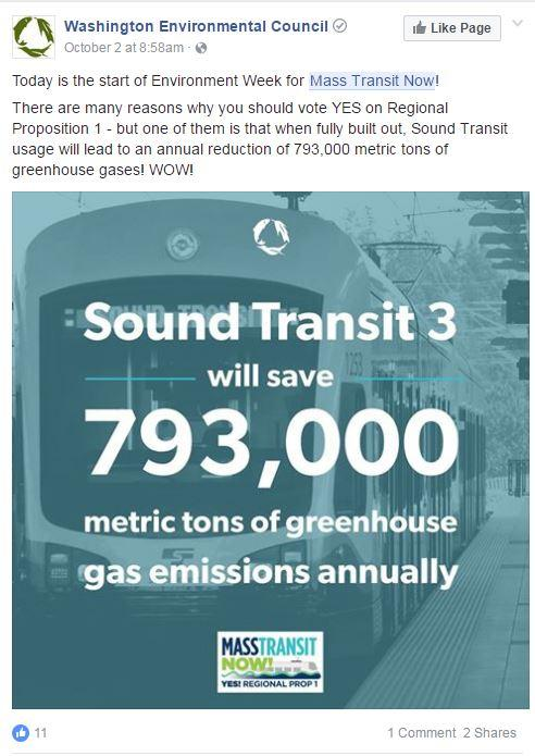 Screengrab of a Facebook post that overstates the climate benefits of Sound Transit 3 by a factor of six.