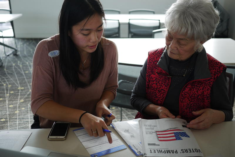 Chinese-American voter Lina Chi (right) gets translation help for her ballot.
