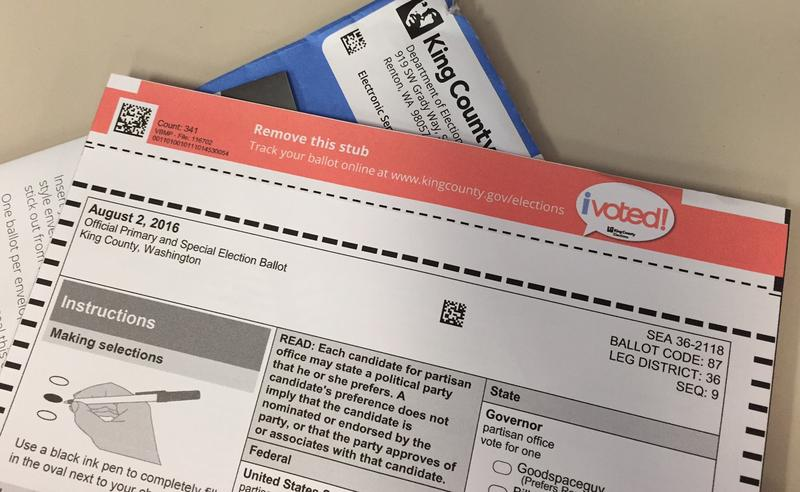 The King County ballot has a stub at the top you must tear off.