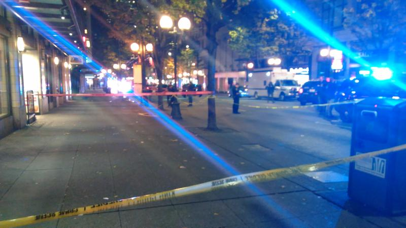 Seattle police shut down Third Avenue after five people were shot.