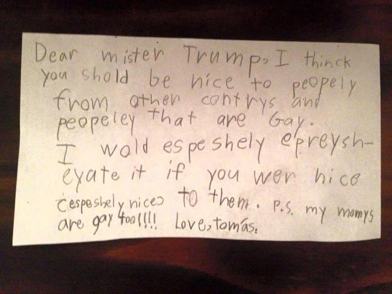 One young boy wants to make sure president-elect Trump is nice to his moms