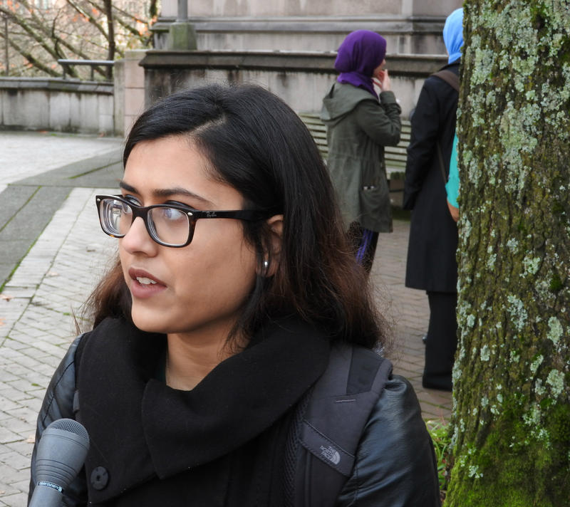 Mina Sultana, co-president of the Muslim Student Association at the UW, advises all Muslim students to walk with a buddy on and off campus and 'be extra cautious of their surroundings.'