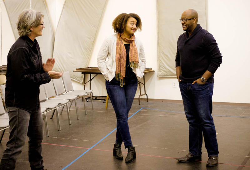 "Singers Taylor Raven, right and Jorelle Williams rehearse for the upcoming Seattle Opera production of ""As One"""
