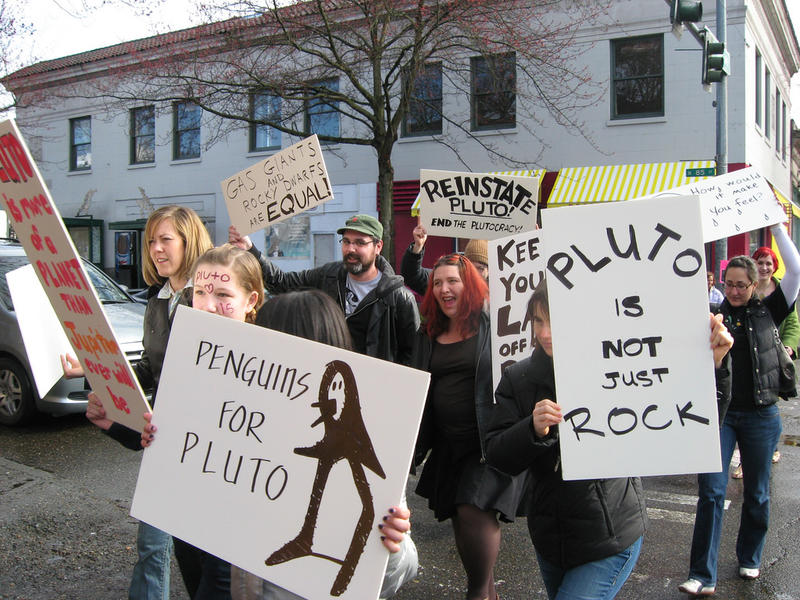A 2008 photo from the Pluto is a planet protest in Greenwood.