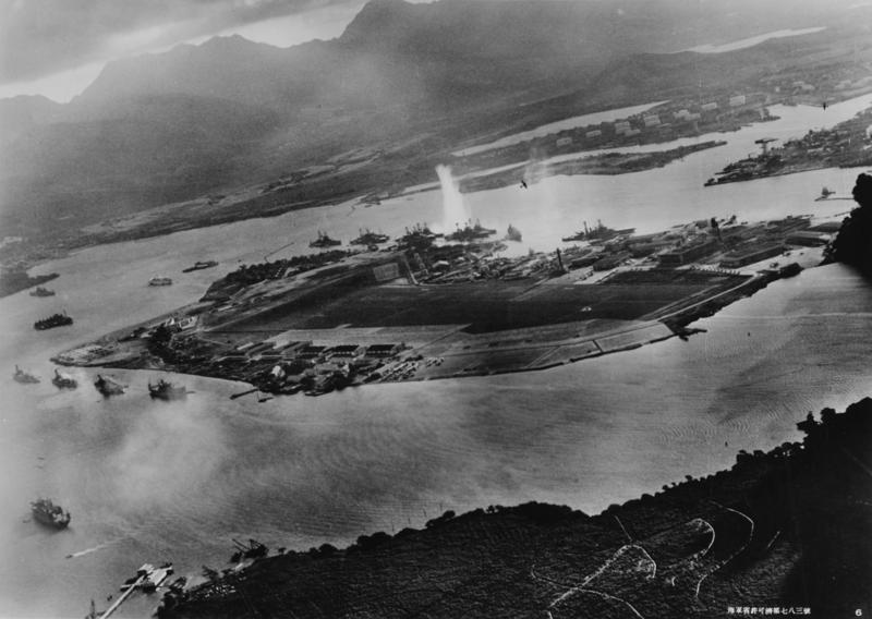 Photo taken from a Japanese plane during the Pearl Harbor attack