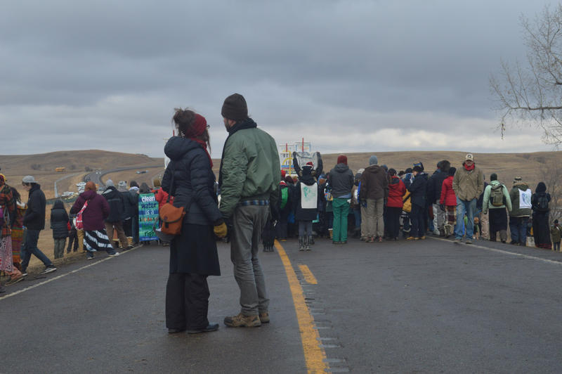 'Water protectors' gather near a bridge on a closed state highway at Standing Rock