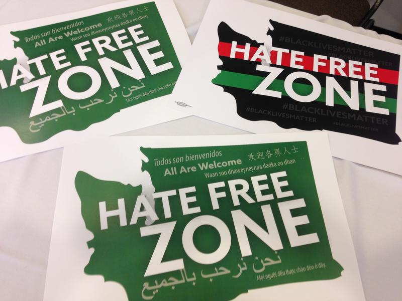 Rally organizers handed out signs declaring Washington a 'hate-free state.'