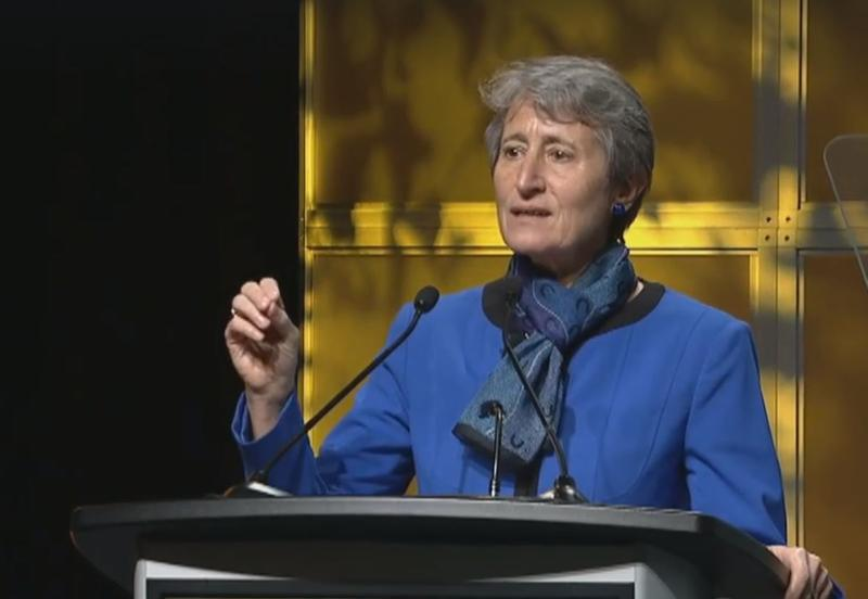 Interior Secretary Sally Jewell speak before the American Geophysical Union meeting in San Francisco.