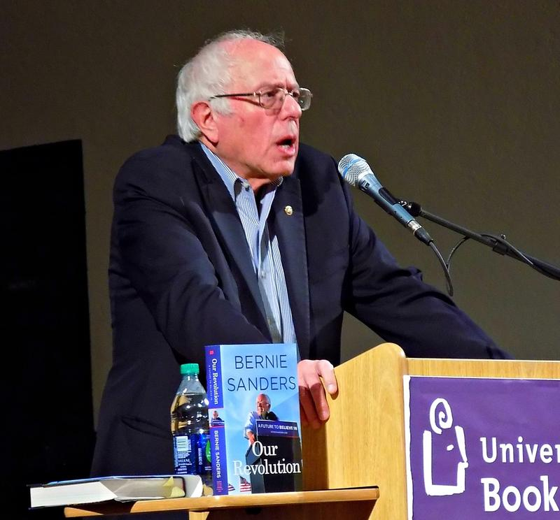 Sen. Bernie Sanders speaks at University Methodist Church in Seattle on Wednesday night.